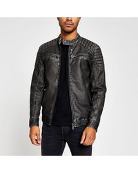 River Island Charcoal Gray Faux Leather Quilted Jacket - Brown