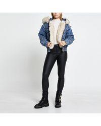 River Island Blue Faux Fur Hooded Denim Puffer Jacket