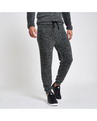 River Island Slim Fit Teddy Fleece joggers - Grey