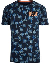 71a9393e River Island Only & Sons Black Tropical Print T-shirt in Black for ...