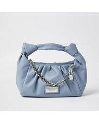 River Island Blue Double Knot Chain Ruched Bag