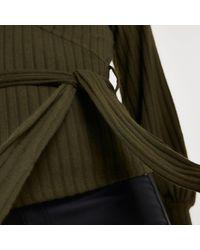 River Island Khaki Ribbed Long Sleeve Wrap Top - Natural