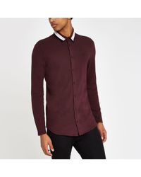 River Island - Burgundy Muscle Fit Tape Collar Button Shirt - Lyst