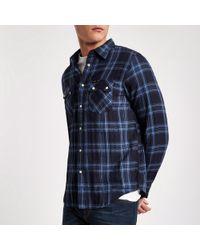 River Island - Lee Blue Check Long Sleeve Oxford Shirt - Lyst