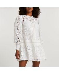 River Island White Lace Long Sleeve Mini Dress