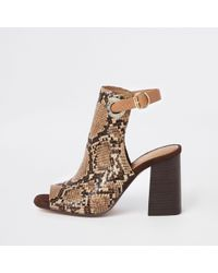 River Island - Brown Snake Print Shoe Boot - Lyst