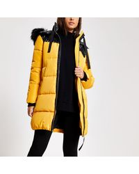 River Island Faux Fur Hood Longline Padded Jacket - Yellow
