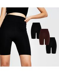 River Island Black & Red High Waist Cycling Shorts 3 Pack