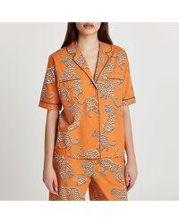 River Island Orange Leopard Printed Pajama Shirt