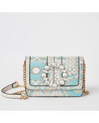 River Island Blue Jacquard Jewel Embellish Underarm Bag