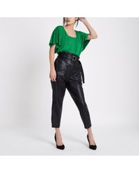 River Island - Green Double Layer Batwing Bodysuit - Lyst
