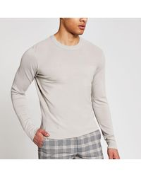 River Island Long Sleeve Slim Fit Knitted Top - Gray