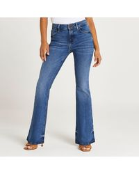 River Island Petite Blue Mid Rise Flared Jeans