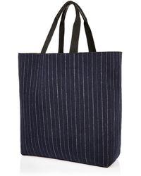 River Island Navy Pin Stripe Reversible Shopper Bag - Blue