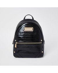River Island Rsd Black Croc Backpack