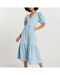 River Island Blue Textured Gingham Wrap Midi Dress