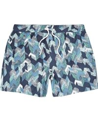 River Island Navy Patterned Swim Shorts - Blue