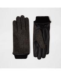 River Island Grey Check Gloves