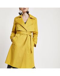 River Island - Petite Mustard Yellow Belted Trench Coat - Lyst