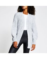 River Island Grey Chunky Knit Ribbed Cardigan