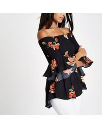 River Island - Black Shirred Floral Bardot Frill Sleeve Top - Lyst