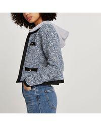 River Island Blue Hooded Boucle Long Sleeve Jacket