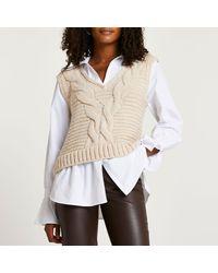River Island Cream Chunky Cable Knit Shirt - Natural