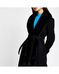 River Island Black Long Faux Fur Robe Belted Coat