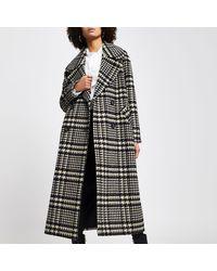 River Island Black Check Print Oversized Longline Coat