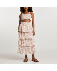 River Island Pink Floral Shirred Layered Maxi Skirt