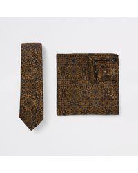 River Island - Baroque Print Tie And Handkerchief Set - Lyst