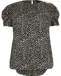 d4481f711b6 River Island Black Gingham Lace Smock Top in Black - Lyst