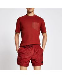 River Island Pastel Tech Rust Drawstring Swim Shorts - Red
