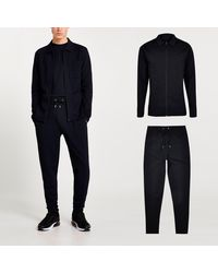 River Island Navy Textured Slim Fit Jacket And jogger Set - Blue