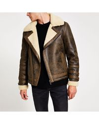 River Island Brown Textured Shearling Biker Jacket