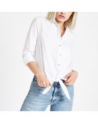 River Island - White Tie Front Diamante Button Shirt - Lyst