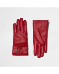 River Island - Red Leather Buckle Faux Fur Lined Gloves - Lyst