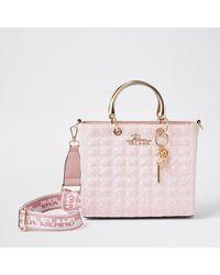 River Island Pink 'rir' Jacquard Tote Bag