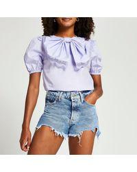 River Island Purple Short Sleeve Bow Puff Sleeve Top