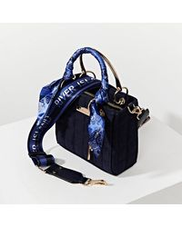 River Island Blue Denim Ri Boxy Quilted Tote Bag