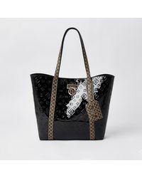 River Island Black Patent Ri Monogram Shopper Bag