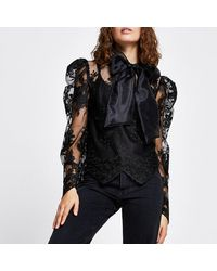 River Island Black Long Puff Sleeve Organza Lace Top