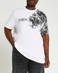 River Island Big & Tall White Floral Print Graphic T-shirt