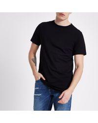 River Island - Black Curved Hem Longline T-shirt - Lyst