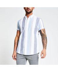 River Island White Stripe Slim Fit Oxford Shirt