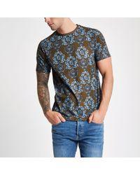 River Island Brown skull print slim fit T-shirt - Marrón