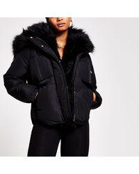 River Island Black Short Faux Fur Padded Puffer Jacket