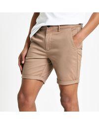 River Island Light Brown Skinny Chino Shorts