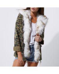 River Island | Khaki Green Camo Fur Trim Army Jacket | Lyst