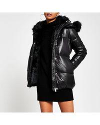 River Island Petite Black Faux Fur Hooded Puffer Coat